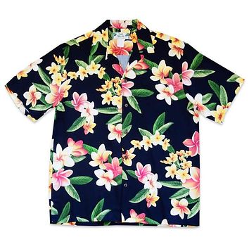 pebble black hawaiian aloha rayon shirt