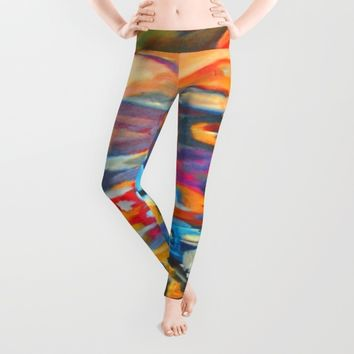My Village | Colorful Small Mountainy Village Leggings by Azima