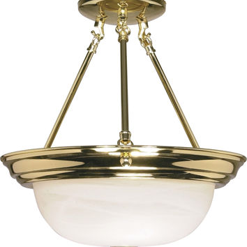 "13"" Semi Flush Mount Lighting Fixture in Polished Brass Finish"