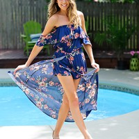 * Karey Floral Off The Shoulder Romper Maxi : Blue