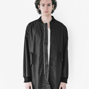 Waxed Cotton Long Bomber Jacket