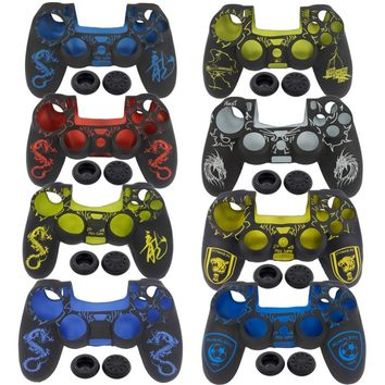 blueloong 1pc Silicone Rubber Soft Gamepad Handle Case Skin Cover for PS4 Controller Grip Handle Console