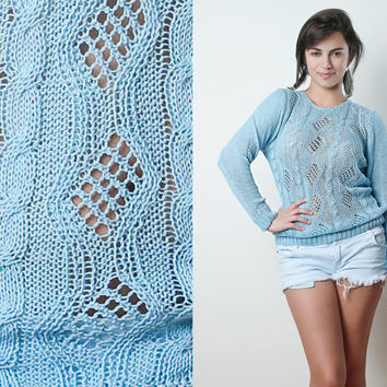 Vintage 70s Sky Blue Eyelet Lightweight Cable Knit Sweater Sheer See Through ONE SIZE