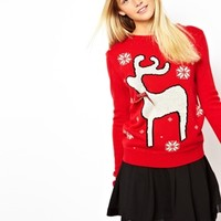 ASOS Reindeer Holiday Sweater - Red