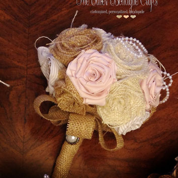 Burlap Bouquet, Wedding Burlap Bouquet, Burlap Bouquet Wrap, Rustic Burlap Bouquet, Burlap, Wedding, Bride, Groom, Favor, Blush, Pearl
