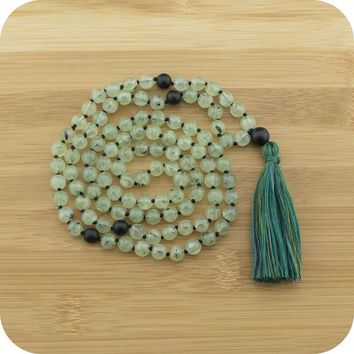 Hand Knotted Prehnite Yoga Beads Necklace with Matte Black Onyx