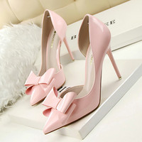 New Spring Women Sweet High Heels Shoes Thin High-heeled Pointed Bow Patent Leather Ladies Shoes Elegant Female Heels G638-3