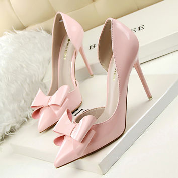 New Autumn Women Sweet High Heels Thin High-heeled Pointed Bow Patent Leather Ladies Shoes Sexy Side Empty  Female Heels G638-3