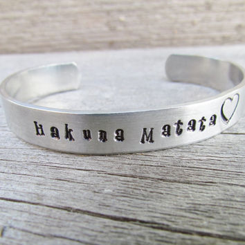 Bracelet Hand Stamped Hakuna Matata Aluminum Custom Work Available Choose Your Choice of Words Designs No Worries