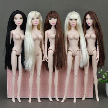 "Cool Original 12"" Nude Naked XINYI doll Queen Lisa Toy /14 Joint Flexible / Long Stright Bangs Hair Big Breast For Barbie Doll GiftAT_93_12"