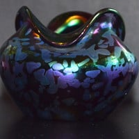 Rindskopf Purple Papillion Oil Spot Vase Art Nouveau Czech Bohemian Glass