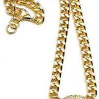 Lion Necklace New 18 1/2 Inch Necklace Link Chain Style Gold Color With White Border