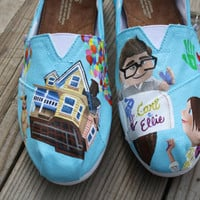 UP Carl and Ellie Original Custom Acrylic Painting for Toms Shoes