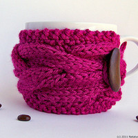 Coffee Cup Cozy - Coffee Mug Cozy - Coffee Cup Sleeve - Tea Cozy - Chunky Knit Cup Cozy, Pink Berry Purple Bright Magenta Grape Plum