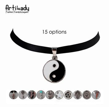 Artilady black velvet choker necklace with charm natural crystal pendant collar necklace for women jewelry
