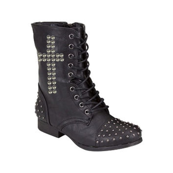 Studded Cross Faux Leather Lace Up Biker Boots  by ELDSHOP on Etsy