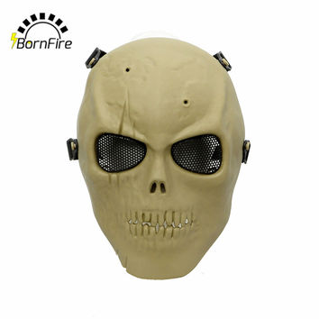Tactical Masks Outdoor Military Wargame CS Paintball Halloween Mask Airsoft Skull Protection Full Face Mask with Steel Mesh Tan