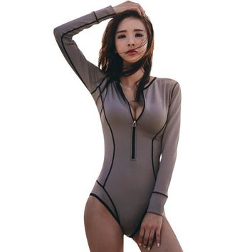 Gray Retro Women Long Sleeve Monokinis Stripe One Piece Bathing Suit Vintage Diving Swimming Wear Beachwear Zipper