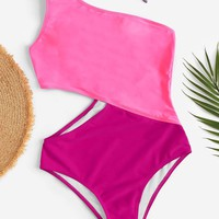 Two Tone One Shoulder One Piece Swimwear
