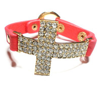 Pink Coral leather pave rhinestones crystal sideways cross bracelet - gold plated thick chunky simple elegant fashion inspired summer 2013