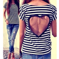 'The Nafeeza' Monochrome Stripe Heart Cut-Out Back Tee