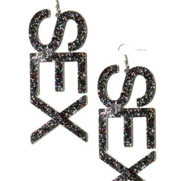 SEX Black Glitter Earrings