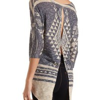 Split-Back Rhinestone Aztec Top by Charlotte Russe - Navy Combo