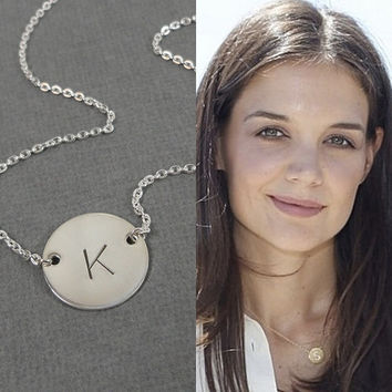 "Sterling Silver Initial Necklace - 5/8"" initial Disc - Celebrity Style Necklace - Personalized Hand Stamped Jewelry"