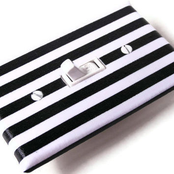 BLACK WHITE STRIPES Switchplate Light Switch Plate by smijims