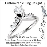 Cubic Zirconia Engagement Ring- The Ingrid (Customizable 7-Stone Artisan 'X' Channel)