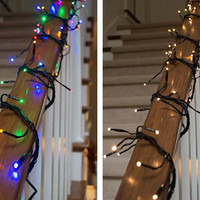 Commercial LED Cluster Garland String Lights, 9 ft Black Wire, Multicolor