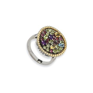 Sterling Silver with 14k Yellow Gold 1.88tw Multi Gemstone Ring