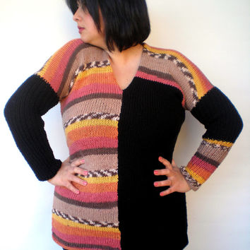 Multicolor Plus size Sweater  Knit Woman Sweater Tunic NEW