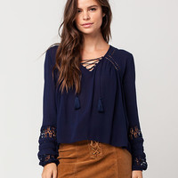 PATRONS OF PEACE Lace Up Crochet Womens Top | Blouses