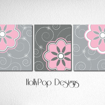 Pink Gray Nursery Theme Idea Baby Girl Bedroom Decor Picture Art Digital Art Prints Modern Room Floral Design Wall Art Set of 3 Artwork
