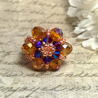 The Lily- Topaz Swarovski Crystal Flower Fashion Ring