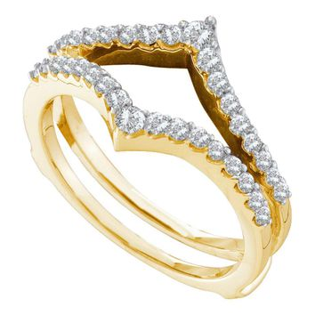 14kt Yellow Gold Womens Round Diamond Ring Guard Wrap Enhancer Wedding Band 1/2 Cttw