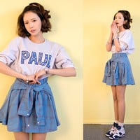 Check Front Knot Sleeve Skirt by Chuu