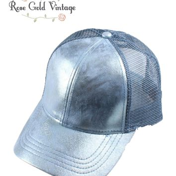 CC Metallic Baseball Hat - Denim