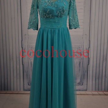 Half Sleeves Lace Applique Beaded Long Prom Dresses Bridesmaid Dresses Party Dresses Evening Dresses Wedding Party Dresses Formal Dresses