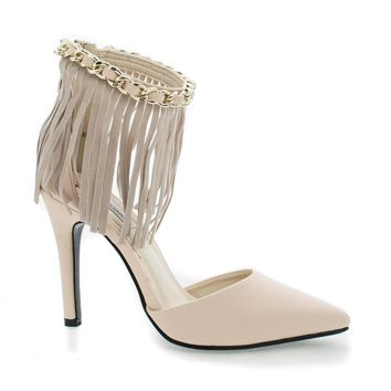 AmeliaXH2 Camel By Cape Robbin, D'Orsay Fringe Chain Ankle Cuff Stiletto Heel Pumps