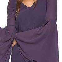 Long Bell Sleeve V-Neck Top with Tie Back