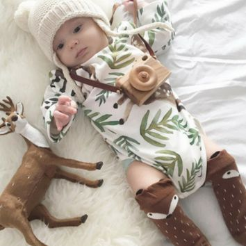 Baby Leaves and Deer Romper