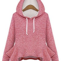 Casual Thick Hooded Outfits Long-Sleeved Knitted Cotton Hoodie with Frill Hem