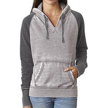 Womens Acid Wash Burnout Hoodie
