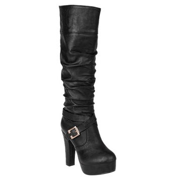 Knee-High Boots With Ruffle and Cross Straps Design