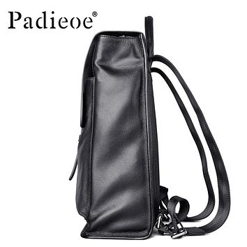 Genuine Leather Backpack Women Fashion School Bag for Teenagers Casual Rucksacks Men Leather Laptop Bags