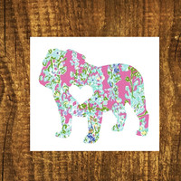 LILLY PULITZER English Bulldog Heart Decal | Bulldog Mom Decal | Dog Dad Decal | Dog Family Decal | Love Sticker | Love Decal | 201