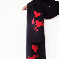 Valentines Day, Bird and Heart Scarf, Black Fleece Scarf, Winter Scarf, Scarves, Fashion Accessories, Valentines Day Gift