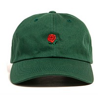 Green Rose Flower Golf Snapback Baseball Hat